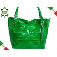 DESIGNER DAMENTASCHE LACKLEDER KROKODIL OPTIK 5936 VERDE